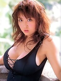 Harada Orei posing natural huge tits in black outfits