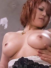 SARA Asian with nasty hooters licks boner and rides it on and on