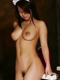 Konatsu Aozora Asian in red stockings shows her naughty melons